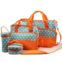 Wholesale 5pcs set Mummy Bag Baby Diaper Bags Nylon Big Size Mother Handbag Shoulder Bags Wet Mat Warm box Kids Nappy Bag