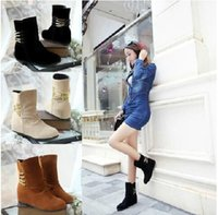 Wholesale New The tube Matte leather High heeled Snow boots Martin Boots Women