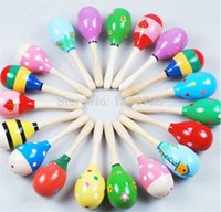 Wholesale 120pcs month baby New Wooden Maraca Orff Rattles Kid Musical Party Favor Child Baby Shaker Toy