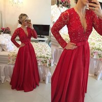 Wholesale Hot Sale Custom Made Deep V neck Long Evening Dress Beaded A line Long Sleeve Red Lace Prom Gown