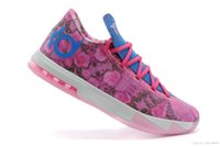 Wholesale Womens Zoom Kevin Durant KD VI Supreme Aunt Pearl Floral Pink Blue Colorway Basketball Shoes Men s Athletics Training Boots Women Sneakers