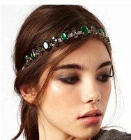 Wholesale Boho Women Green Crystal Rhinestone Golden Chain Bohemian Hair Head band Accessory JH01032