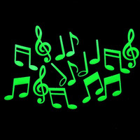 Cheap DIY Music Notes Glow in the Dark Fluorescent Plastic Home Decorate Wall Sticker Decorative Ceiling Paste Luminous Decal Tags