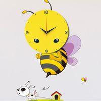 bee wall decor - New Fashion D DIY Cartoon Bee Wall Clock Decal Sticker Real Clock Home Kid s Room Decor