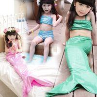 Wholesale Girl Mermaid Tail Swimmable Monofin Capable Sea maid Fantasia Princess Bikini Swimwear Beach Kids Children Dress maillot de bain