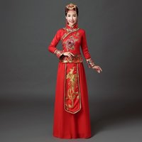 Wholesale the national trend women s hanfu chinese dresses chinese style Dragon Floral embroidery dress costume dresses XH09