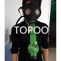 Cheap NEW Gas Mask Bongs Sealed Acrylic Water Pipe Hookah Pipe Vaporizer Filter Cool Mask Smoking Pipe