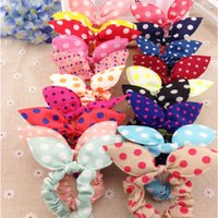Wholesale New Pony Tail Holder For Women Mix Colors Mix style Flower Dot Peach Hearts Rabbit Rabbin Cloth Hair Accessories