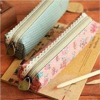 best brief case - Best seller small fresh elegant brief polka dot canvas pencil case pencil box