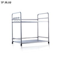 Wholesale Eli poem double multifunction kitchen racks stainless steel microwave oven shelf storage shelf