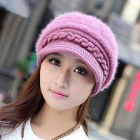 Prezzi Wool hat-Lana pelliccia del coniglio lavorato a maglia Cappello doppio spessore Berretti protezione del Knit Autunno Cappelli invernali solido caldo pile copricapo per le donne Lady
