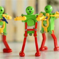 Wholesale 2014 New Children Kids Colorful Plastic Clockwork Spring Wind Up Dancing Robot Toy Gift
