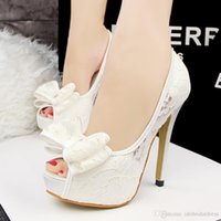 white lace wedding shoes - 2015 New Arrival White Lace Sexy Peep toe Stiletto High Heel Summer Wedding Shoes Women Wedding Shoes