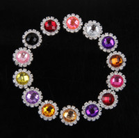 Wholesale MM Colors Handmade Metal Round Flower Wedding Button For Hair Accessory Clear Alloy Rhinestone Flatback Button