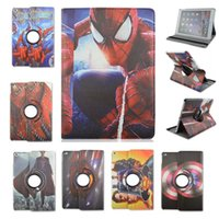 Wholesale Transformers Spider Man Pattern Degree Rotate Stand Smart Case Leather Cover For Apple iPad For iPad Air DHL EMS Freeshipping