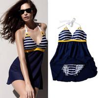 Wholesale 2014 New Hot Sailor Stripe Women Padded Beach Swimwear Sexy Swimsuit Dress Navy Blue Plus Size Sexy One Piece Bathing Suit M L XL XXL XXXL