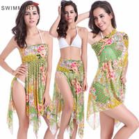 beachwear coverups - 2016 Womens Bikini Coverups Skirt Dress Colorful Flowers Tees Wrap Skirt Beach Dress Smooth Boho Vacation Beachwear Dress