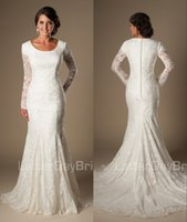Wholesale Mermaid Lace Modest Temple Wedding Dresses With Long Sleeves Train Jewel Neck Covered Button Back Long Church Bridal Gowns Informal Simple M