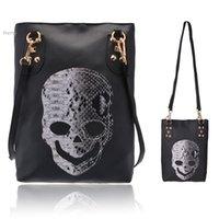 Cheap New Style Fashion Punk Black Skull Face Designer Pu leather Handbag Women's Shoulder Bag,Lady Rivets CrossBody Bag 35