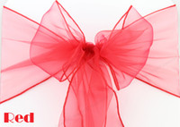 Wholesale Sample Order Red Sheer Organza Chair Sashes Bow Wedding Festival Party Meeting Event Decorations