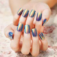 acrylic nail shell - Pretty Shell Bright Color Long Fake Nails Acrylic Rectangle Full Nail Tips False Nails Set High Light Nail Art Tool