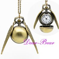 Wholesale Harry Potter Golden Snitch Watch Necklace Steampunk Quidditch Pocket Clock