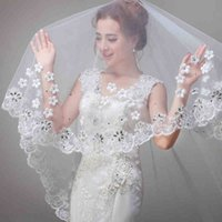 Church wedding One-Layer Fingertip Length The new bride stretch lace set auger small flower beautiful veil The new bride wedding dress accessories