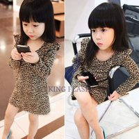Wholesale Children S Clothing Leopard Print - 2014 New Sweet Fashion Baby Girls Cute Leopard Print Cotton Long Sleeve O-Neck Princess Dress Child Clothes 3-11 years 20077