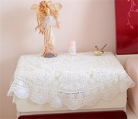 Wholesale Manual Crochet Round White Tablecloth Round Table Decorative Floral pattern cm