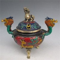 Wholesale Chinese Cloisonne Carved Dragon Incense Burner Lion Lid w Ming XuanDe Mark