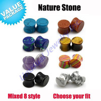 Wholesale Unusual Different Colors Smooth Stone Ear Gauge Plugs Ear Stretcher Tunnels Expander Choosable