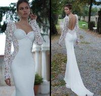 Cheap Lace Illusion Long Sleeve Backless Mermaid Wedding Dresses 2015 Custom Made Berta Winter Sweetheart Court Train Chiffon Wedding Bridal Gowns