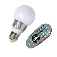 Wholesale AC V RGB LED Lamp W E27 led Color Bulb Lamp with Remote Control led lighting multiple colour