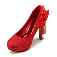 Cheap 4.8inch High Heels Bride Wedding Shoes Lady Formal Dress Shoes Performances Prom Shoes DY3055-9 Red