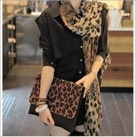 Wholesale new arrive Women Fashionable Leopard Print Silk Scarf Air Conditioning Sunscreen Ultra long Sunscreen Shawl