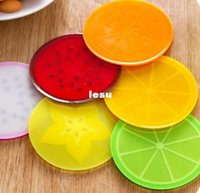 antiskid mat - Fashion Hot Fruit shape coasters silicone round coasters heat insulation pad antiskid cup mat