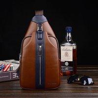 Wholesale 2015 new men s chest pack casual hit color leather shoulder bag Messenger bag tide outdoor packet trade
