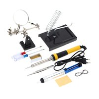 Wholesale FZ604 V V W Household Soldering Iron set Tools Soldering Iron with Magnifier Tin Wire Solder Sucker Rosin E0756