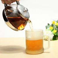 coffee pot tea - 2015 New Coffee Tea pot ml Stainless Steel Faced Modern Teapot with filter heat resistant glass