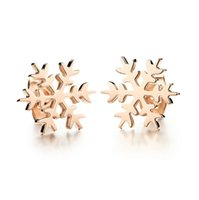 Wholesale 316L stainless steel snowflake stud earrings IP rose gold plated christmas snowflake stud earrings on sale