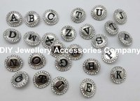 Wholesale 52PCS lovely intial letters noosa button A Z NOOSA mm mm letters noosa Interchangeable Snap Buttons Ginger Snap Jewelry