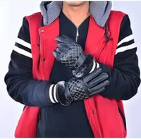 Fingerless Gloves Others Man Wholesale-Free Shipping Winter Men's Leather Gloves Keep Warm Glove Mittens Retail #0845