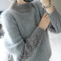 Wholesale autumn and winter Korean version of the sweater sleeve shirt half twist loose high necked sweater hedging rabbit female