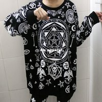 Wholesale Fashion HARAJUKU killstar five pointed star hexagram skull geometry loose long sleeve T shirt bf