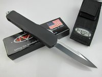 bowie knives - Hot sale Microtech A07 C steel Black handle Single edge Plain camping survival knives bowie knife collection knife with nylon bag M
