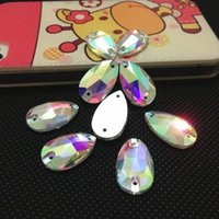 ab foods - 7x12mm x22mm x28mm x38mm droplet teardrop Crystal AB color sew on Glass Crystal Rhinestones pearshape sew on stones with holes