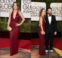 Wholesale Shiny Burgundy Olivia Wilde Celebrity Dresses The rd Golden Globe Awards Red Carpet Gowns Sexy Deep V Neck Sequins Pageant Gowns