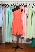 peach bridesmaid dresses - Short One Shoulder Bridesmaid Dresses Cheap Knee Length Peach A line Bridesmaid Gown Under Apple Green Wedding Party Dresses Black