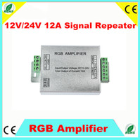 Wholesale 2pcs Led RGB Amplifier Controller input12V V A Signal Repeater W for RGB Led strip Alu box QLY