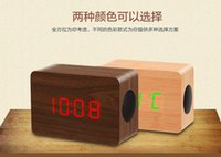 wood display - Wood wooden bluetooth speakers in multifunction subwoofers Bluetooth with LED clock temperature time display function hands free